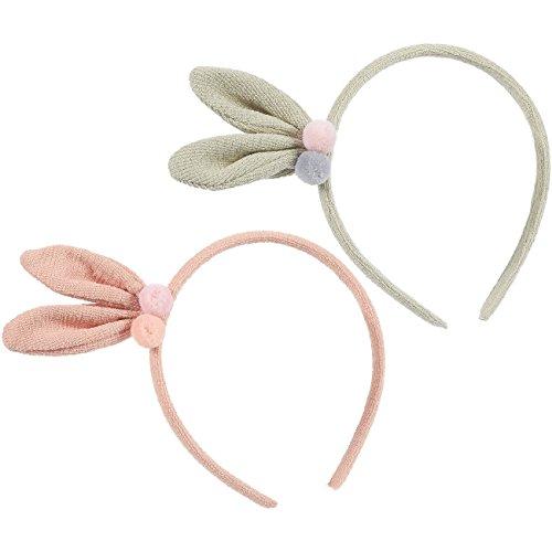 (Bunny Ear Headbands - Pack of 2 Headbands with Ears - Animal Headband with Rabbit Ears - Cute Bunnie Ears - Suitable for Kids, Adults, Girls, Women, Pink,)