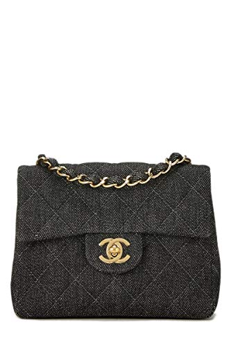 CHANEL Black Quilted Denim Half Flap Mini (Pre-Owned)