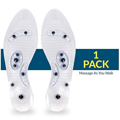 Magnisole - Magnetic Reflexology Insole - Acupressure Massage Inserts - Orthopedic Men & Women Shoe Insoles - Plantar Fasciitis Pain Relief - Customizable Size (1 Pairs)