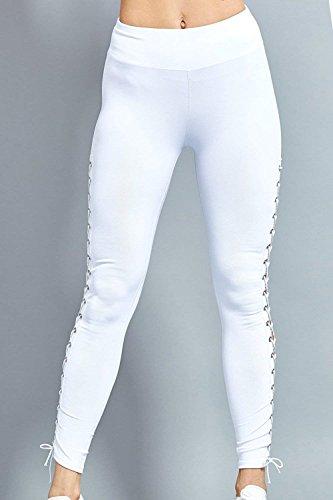 Training Abbigliamento Waist High Donna Con Lacci Pantaloni Estivi Tuta Bianca Elegante Skinny Ragazza Monocromo Leggings Chic wSva6Bqa