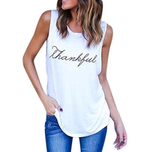 Snowfoller Women Summer Vest Fashion Letter Printed Thankful Sleeveless Tank Tops Casual Cotton Slogan Tee T-shirt (L, White)