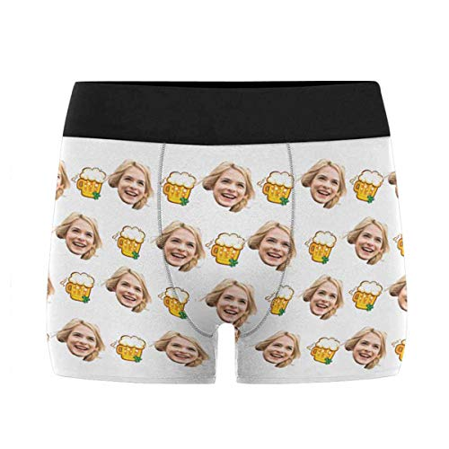 Custom Men's Funny Face St. Patrick's Day Irish Beer Boxer Shorts Briefs Underpants Printed with Photo L