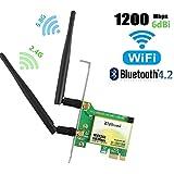 Gigabit Wifi Card, AC1200Mbps Wireless Wifi Card,Wireless PCIe Card,802.11 AC Dual-Band 1167Mbps(5Ghz-867Mbps/2.4Ghz-300Mbps) Network