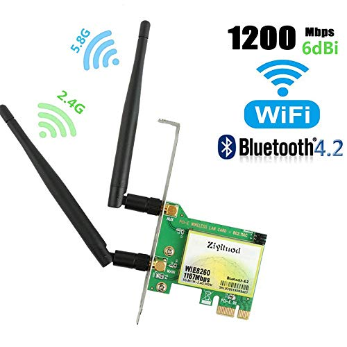 WiFi Card AC1200Mbps Wireless WiFi Card,Wireless PCI Express Adapter,802.11 AC Dual-Band 1167Mbps(5Ghz-867Mbps/2.4Ghz-300Mbps) Network Card with Bluetooth 4.2,PCIE Wi-Fi Adapter for PC (WIE 8260) (Best Pci Wifi Adapter For Pc)
