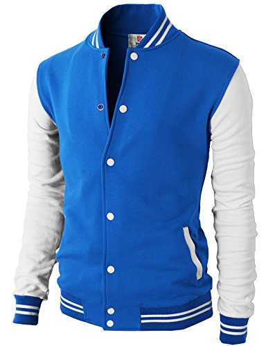 H2H Mens Slim Fit Varsity Baseball Bomber Cotton Lightweight Premium Jacket  Cmoja083-blue Small