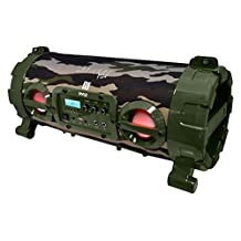 Pyle PBMSPG120CM Street Blaster Wireless Bluetooth Boom Box Speaker, Rechargeable Battery, DJ Light, Camouflage