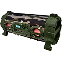 Pyle Street Blaster Wireless Bluetooth Boom Box Speaker, Built-in Rechargeable Battery, MP3/USB/SD, FM Radio, DJ  Lights,Camouflage (PBMSPG120CM)