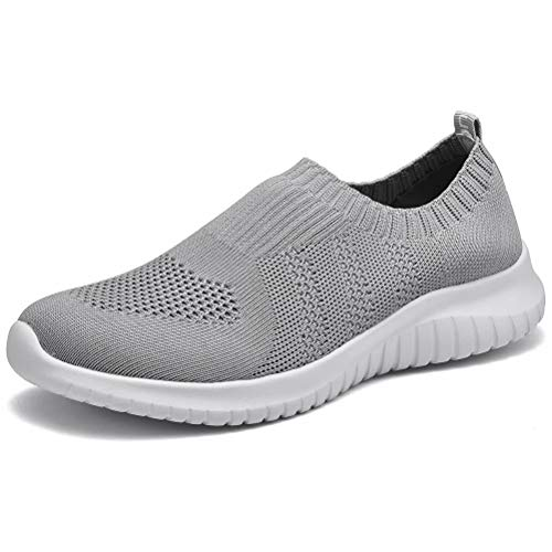 konhill Women's Walking Tennis Shoes - Lightweight Athletic Casual Gym Slip on Sneakers 12 US L.Gray,44 (12 For Shoes Tennis Women Size)