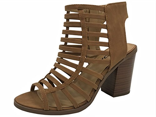 Womens Open Toe Strappy Caged Sandal Ankle Strap Chunky Mid Heel, Tan, 7