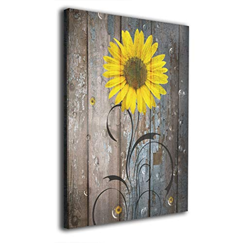 Picture Sunflower (Okoart Canvas Wall Art Prints Rustic Sunflowers Farmhouse Picture Paintings Modern Decorative Artwork for Living Room Wall Decor and Home Decor Framed Ready to Hang 16x20inch)