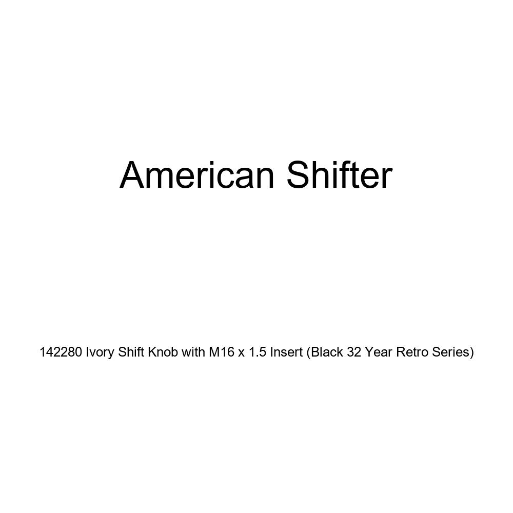 American Shifter 142280 Ivory Shift Knob with M16 x 1.5 Insert Black 32 Year Retro Series