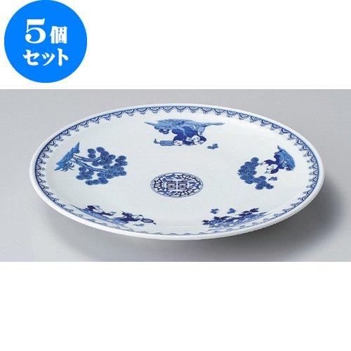5個セット 丸皿(大) 染付唐子10.0皿 [30.8 x 4.2cm] 和食器 和皿 料亭 旅館 業務用   B00RVJSA46