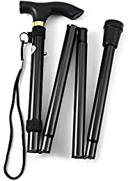 Comfkey Folding Lightweight Walking Stick - Adjustable Aluminum Metal Collapsible Travel Cane with Non-Slip Ru