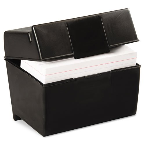 Oxford Plastic Index Card Box, 4 x 6 Inches, 400 Card Capacity, Black (01461) (Esselte Business Card Holder)