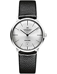 Intra-Matic Silver Dial Leather Mens Watch H38455751