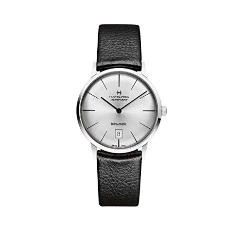Hamilton Intra-Matic Silver Dial Leather Mens Watch H38455751 by Hamilton