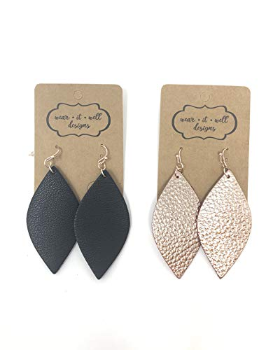 (Leather Earrings/Two Pairs Leaf or Teardrop Earring/Joanna Gaines Zia Style Genuine Leather/Black & White or Gold & Silver/Diffuser Earrings for Essential Oils (Rose Gold & Black Marquise))