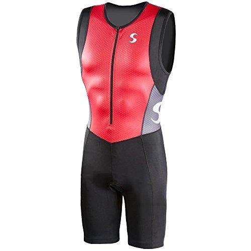 Synergy Men's Triathlon Trisuit (Red/Black, - Suit Mens Tri