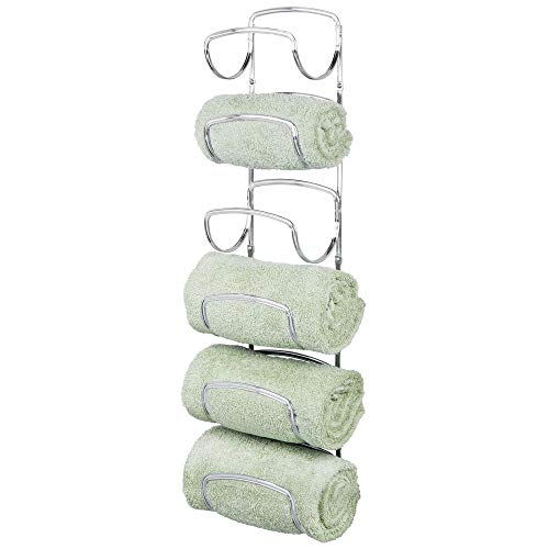 mDesign Modern Decorative Six Level Bathroom Towel Rack Holder & Organizer, Wall Mount - for Storage of Bath Towels, Washcloths, Hand Towels - Chrome