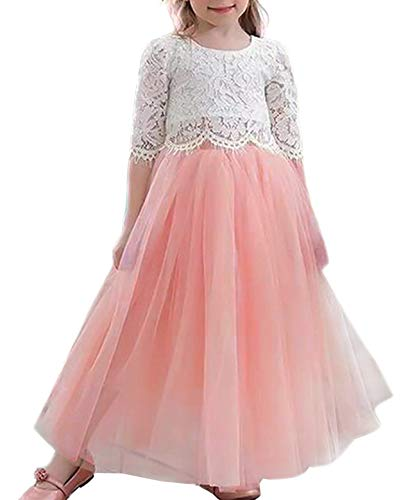 NNJXD Girls 2Pcs Lace 3/4 Sleeve Tops+ Tulle Dress Party Princess Flower Girl Dresses 7-8 Years 2Pcs Lace 3/4 Sleeve Tops+ Pink Tulle Dress
