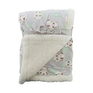 """E&A"" Luxury Soft Fleece Baby Blanket Jungle Design 75 x 100cm for Babies from Newborn (Baby Panda Grey)"