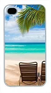 High Quality Fashion White PC For Apple Iphone 4/4S Case Cover Generation Back Cover For Apple Iphone 4/4S Case Cover with Beautiful Beach