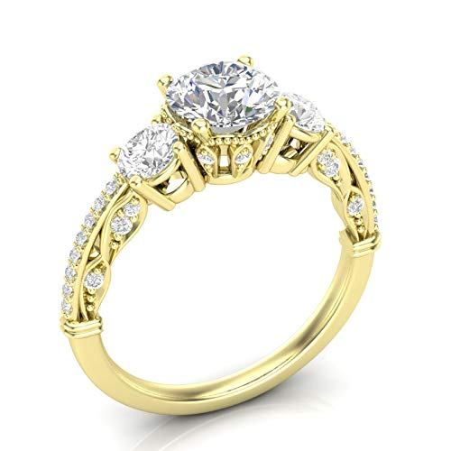 Yellow Gold Vintage Three Stone Engagement Ring Unique Filigree Milgrain Art Deco Ring Round Forever One Colorless Ring Her Moissanite Ring 14K
