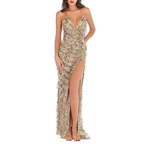 (Sunhusing Women's Sexy V-Neck Strapless Sling Shiny Sequins Stitching Sleeveless Halter Hem Nightclub Dress Gold)
