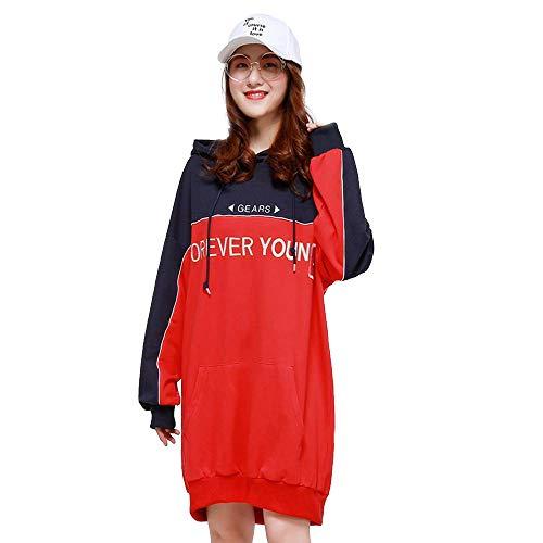 De Suéter Colores Gran Larga Capucha Para Camisa Un Tendencia Sudadera Lxiangp Rojo Tres sudadera Falda Femenina Mujer Tamaño Suelta Con Estudiante U7gSn