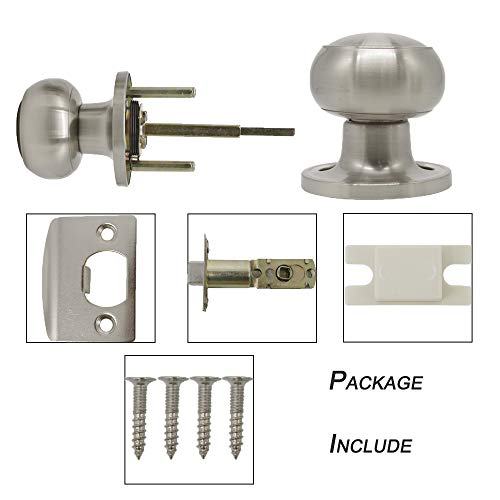 10 pack Probrico Interior Hallway Passage Closet Keyless Doorknobs Door Lock Lockset 609-SN-PS in Satin Nickel by Probrico (Image #6)