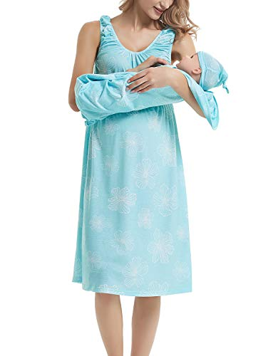 GINKANA Maternity/Nursing Delivery Nightgown with Matching Baby Swaddle Blankets and Hat Set - Hospital Bag Must Have ()