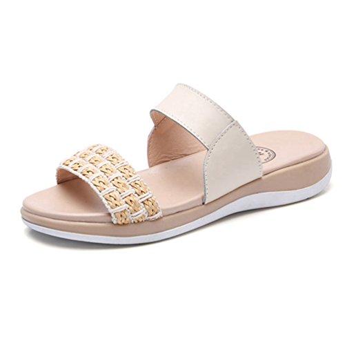 Glisse Bout Forme Sol Plate Femme Chaussures Beige Été Ouvert Sandales Plage épaisse extérieure de au Appartements Sandale 4SqfSzIr