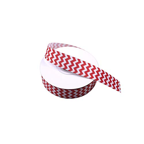 White and Red Chevron Printed Grosgrain Ribbon Hairbow Package Gift Wrapping Wedding Decrative 25 Yards 1