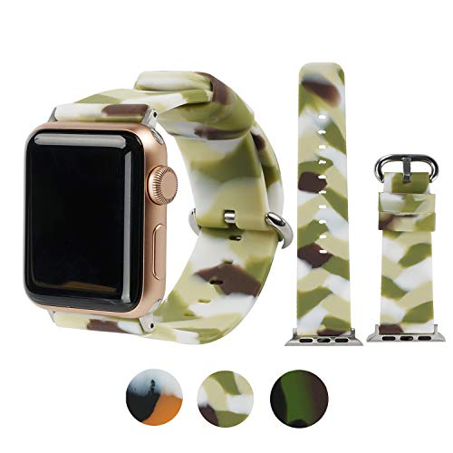WONMILLE Floral Bands Compatible with Apple Watch 38mm/42mm/40mm/44mm, Silicone Fadeless Camouflage Pattern Printed Replacement Bands for iWatch Series 4/3/2/1 (Camouflage Green, 42mm/44mm)