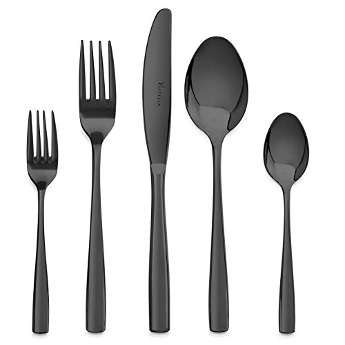 Vistella Mirror Polished Black Flatware 20 Piece Dinnerware Set - Premium Quality Silverware made of Fine Stainless Steel Metal - Elegant Modern & Luxury Design Cutlery for Everyday Casual Use by Vistella