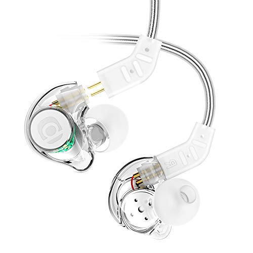 In Ear Monitor, Adorer IM8 Universal-Fit In Ear Headphones with Microphone Noise Isolating Wired Earphones - Detachable Cables, Memory Wire (Transparent)