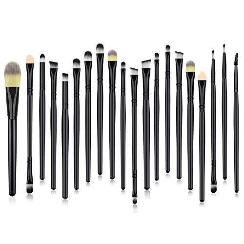 Eye Makeup Brush Set, 20 Pieces Essential Make Up Brushes for Eyeshadow Eyeliner Foundation Lip Blending Black Premium Cosmetics Brush Kits