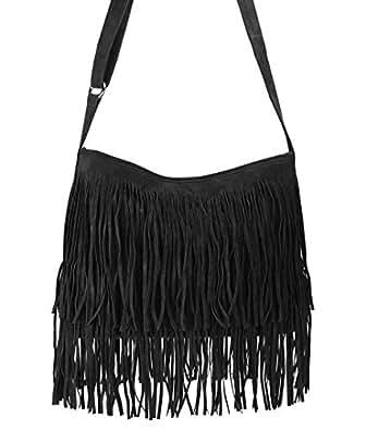 Hoxis Tassel Faux Suede Leather Hobo Cross Body Shoulder Bag Womens Sling Bag New Upgrade (Black)