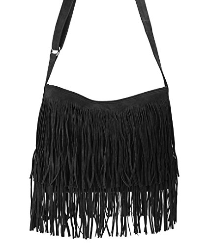 Hoxis Tassel Faux Suede Leather Hobo Cross Body Shoulder Bag Womens Sling Bag New Upgrade (Black)
