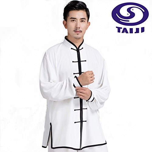 WUYIN Cotton Silk Tai Chi Uniform Tai chi Clothes Martial Arts Kung fu clothes Tang suits (Size Chart in Last photo) (L, White with Black Border)