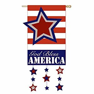 "Stars and Stripes God Bless America Decoartive Flag 28"" X 44"""