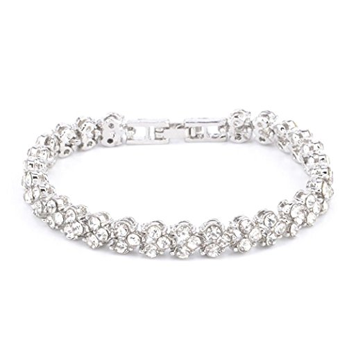 AutumnFall Gifts for Women, Women Roman Style Crystal Diamond Bracelets (Silver)