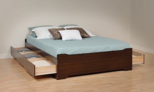 Prepac EBQ-6200-3BV Coal Harbor Mate's Platform Storage Bed with 6-Drawers, Espresso, Queen (Bed With Drawers)