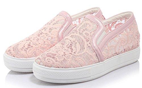 Showhow Womens Comfort A Punta Tonda Slip On Sneakers Con Maglia Rosa