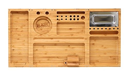 RAW ''Triple Flip'' Bamboo Magnet Rolling Foldable Tray with Built-in Ashtray by RAW