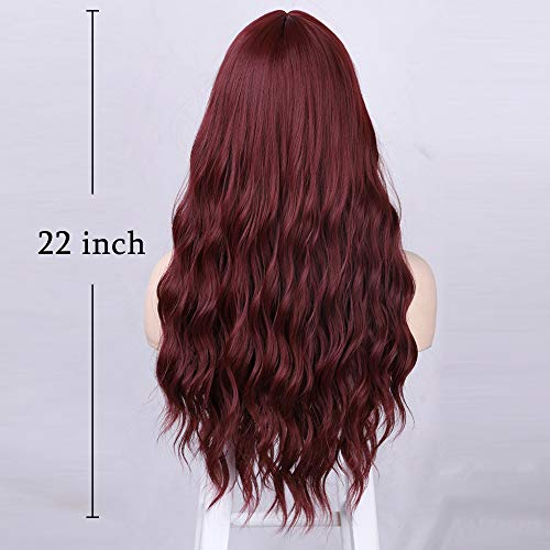 Lativ Long Wine Red Wig for Women Red Wavy Curly Wig with Bangs Synthetic Heat Resistance Fiber Hair Wig for Everyday Wear Cosplay Use