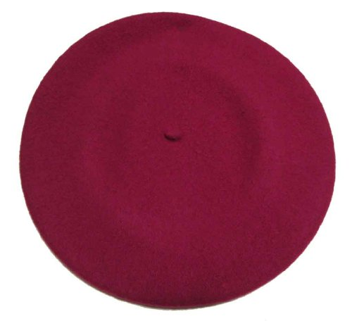Vieux Carre Traditional French Wool Beret Raspberry