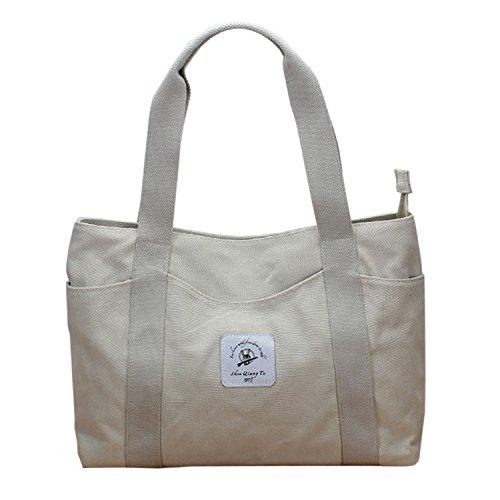 Outside Zippered - Lavogel Women's Tote Bag Canvas Shoulder Bags Top Handle Beach Handbag (Gray)