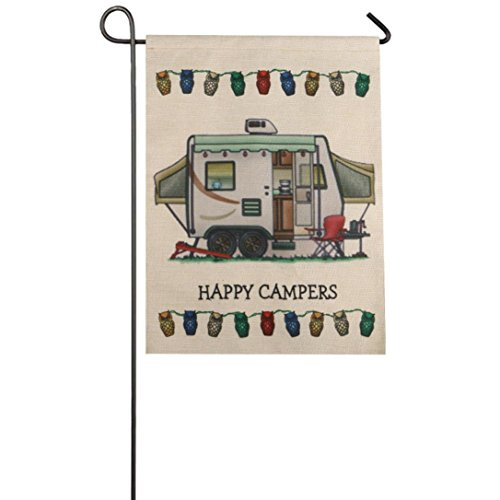 Auwer Happy Campers Pattern Garden Flag Indoor Outdoor Home Decor Car Flag Burlap Monogram Fabulous Decorative Colorful Multicolor Garden Flag 12.6 x 18 Inches (E)