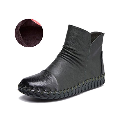Sewing fur Boots Cow Bootie Genuine Ankle UPSUN Hand Women's High Snow green faux Dark Shoes Lined Leather qZxpU8f